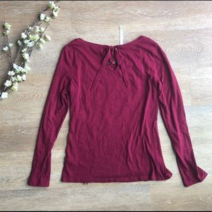 LC Lauren Conrad Tops - Lauren Conrad Burgundy Lace Top